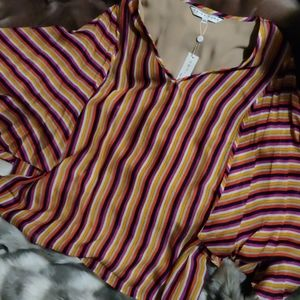 Trina Turk bright stripes butterfly sleeve blouse